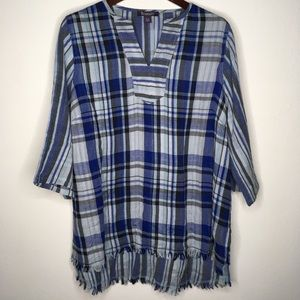 Roaman's Blue Plaid Cotton Top Size 18W
